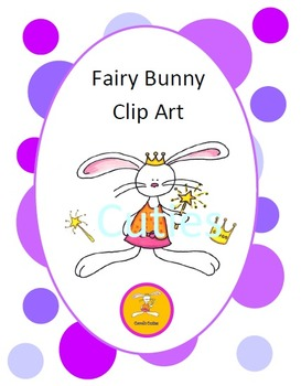 Bunny Clip Art - Fairy in full color and black line