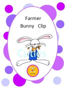 Bunny Clip Art - Farmer in full color and black line