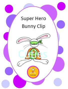 Bunny Clip Art - Super Hero Bunny in full color and black line