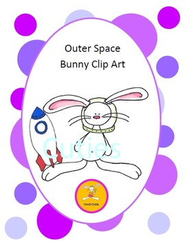 Bunny Clip Art - astronaut-space bunny in full color and black line