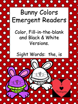 Bunny Colors Emergent Reader: 3 Versions, Sight Words: the, is