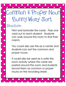 Bunny Common & Proper Noun Word Sort