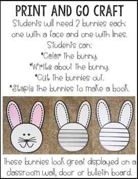 Bunny Craft~ No Prep Writing Activity