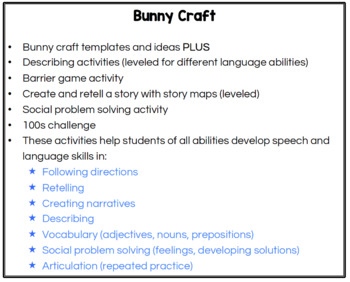 Bunny Craft for Speech Therapy