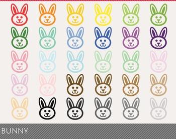 Bunny Digital Clipart, Bunny Graphics, Bunny PNG, Rainbow Bunny Digital Files