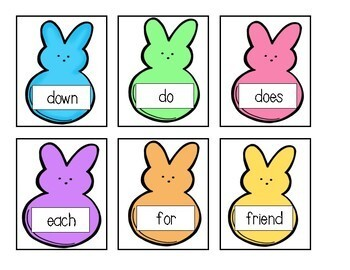 Bunny Easter Peeps Sight Word Write the Room