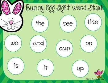 Bunny Egg Sight Word Stack FREEBIE with EDITABLE version!!