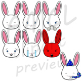 Bunny Emojis (black and white version) - VIPKid Feelings E