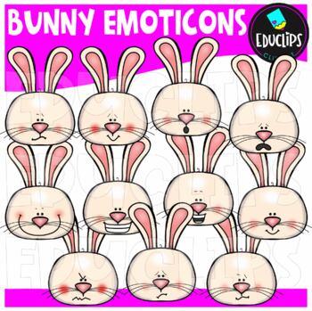 Bunny Emoticons Clip Art Bundle  {Educlips Clipart}