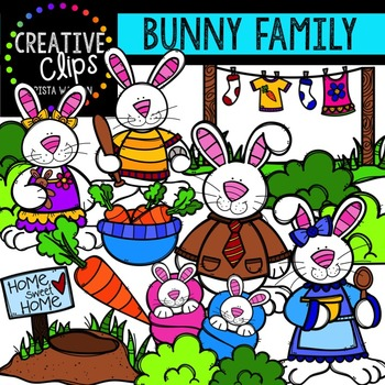 Bunny Family Clipart {Creative Clips Digital Clipart}