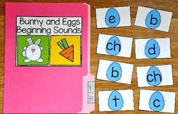 Bunny File Folder Game:  Bunny and Eggs Beginning Sounds