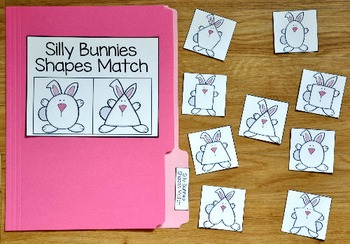 Bunny File Folder Game:  Silly Bunny Shapes Match