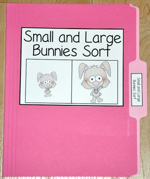 "Bunny File Folder Game--""Small and Large Bunnies Sort"""