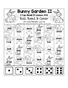Bunny Garden - I Can Read It! Roll, Read, and Cover (Lesson 32)