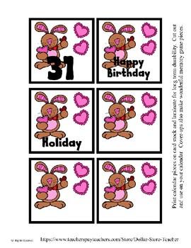 Bunny Heart Valentine themed Calendar Cover-Ups
