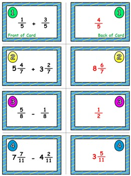Spring Math Skills & Learning Center (Add & Subtract Like Fractions)