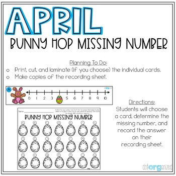 Bunny Hop Missing Number to 20 Number Line Kindergarten April Math Center