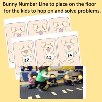 Number Line Addition & Subtraction Bunny Hop K.OA.2, 1.OA.1 by 123kteach