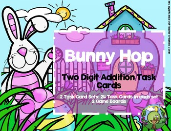 Bunny Hop Two Digit Addition Task Cards