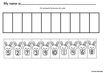 Number Game - Bunny Line - Print and Play Math Game / Center