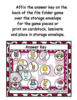 Bunny Love End Consonants File Folder Game