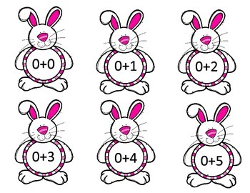 Bunny Math Facts Flashcards Addition 0-9