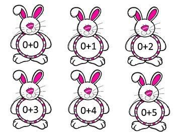 Bunny Math Facts Flashcards Addition 0-9