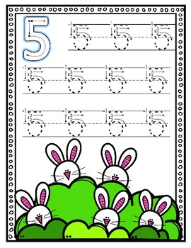 Bunny Number Writing to 10--Dry Erase Handwriting Cards for Your PK-1 Class