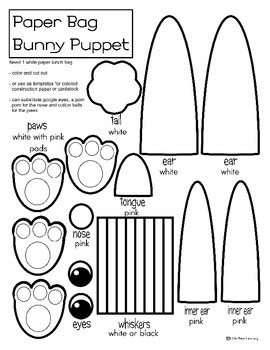 bunny paper bag puppet coloring or template by little stars learning