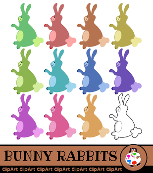 Bunny Rabbit Clip Art - Assorted Colors