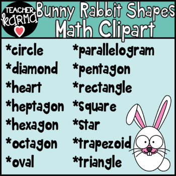 Bunny Rabbit Shapes Math Clipart, Easter