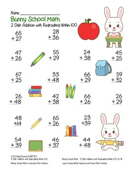 """Bunny School Math"" 2 Digit Addition With Regrouping (color & black line)"