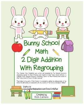 """""""Bunny School Math"""" 2 Digit Addition With Regrouping (colo"""