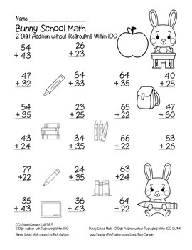 """Bunny School Math"" 2 Digit Addition Without Regrouping - FUN! (black line)"