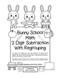 "Bunny School Math"" 2 Digit Subtraction With Regrouping Common Core! (black line)"