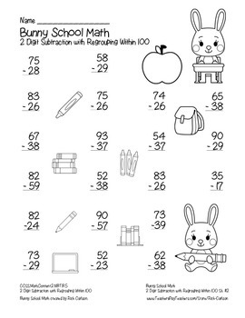 """Bunny School Math"""" 2 Digit Subtraction With Regrouping Common Core! (black line)"""