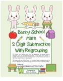 """Bunny School Math"" 2 Digit Subtraction With Regrouping! (color & black line)"