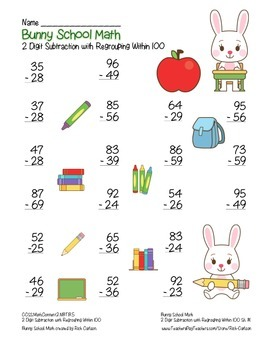 """""""Bunny School Math"""" 2 Digit Subtraction With Regrouping! (color & black line)"""