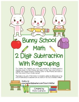 """""""Bunny School Math"""" 2 Digit Subtraction With Regrouping! ("""