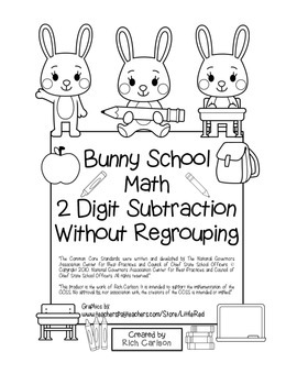 """Bunny School Math"""" 2 Digit Subtraction Without Regrouping - FUN! (black line)"""