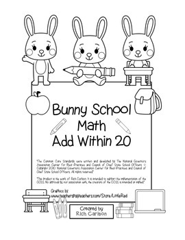 """""""Bunny School Math"""" Add Within 20 - BACK TO SCHOOL FUN! (b"""
