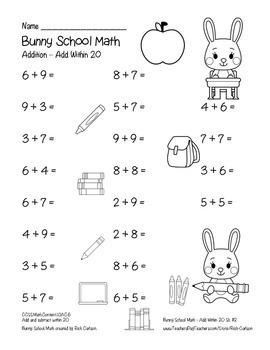 """Bunny School Math"" Add Within 20 - BACK TO SCHOOL FUN! (color & black line)"