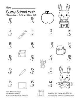 """Bunny School Math"" Subtract Within 20 - BACK TO SCHOOL FUN! (black line)"