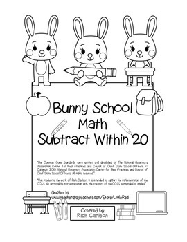 """Bunny School Math"" Subtract Within 20 - BACK TO SCHOOL FU"