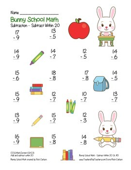 """Bunny School Math"" Subtract Within 20 - BACK TO SCHOOL FUN! (color)"