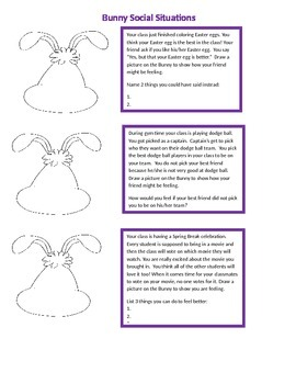 Bunny Social Situations & Feelings Packet