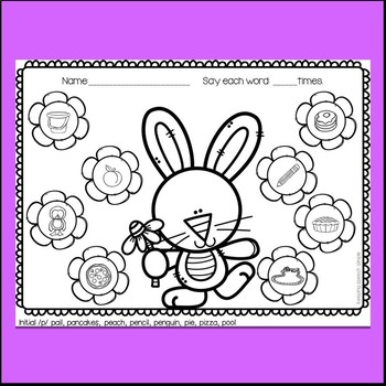 Bunny Speech Therapy for Early Articulation Sounds - spring themed