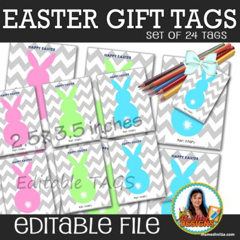Bunny Tags, Easter Gift Tags, Easter Gift Favor Tags Set of 8