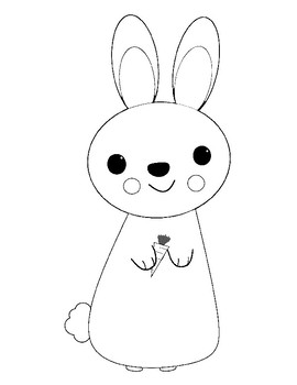 Bunny Template for Art Project Bunny Coloring Page Bunny Outline Sheet