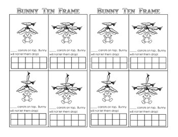 Bunny Ten Frame Fun (Game, Display, and Worksheet) FREE!